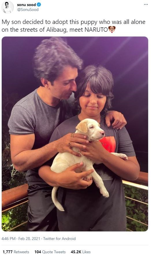 Clothing - sonu sood @SonuSood My son decided to adopt this puppy who was all alone on the streets of Alibaug, meet NARUTO 4:46 PM · Feb 28, 2021 - Twitter for Android 1,777 Retweets 104 Quote Tweets 45.2K Likes