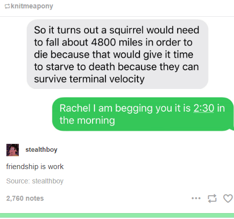 Font - Sknitmeapony So it turns out a squirrel would need to fall about 4800 miles in order to die because that would give it time to starve to death because they can survive terminal velocity Rachel I am begging you it is 2:30 in the morning stealthboy friendship is work Source: stealthboy 2,760 notes