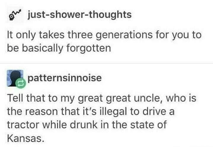 Font - g just-shower-thoughts It only takes three generations for you to be basically forgotten patternsinnoise Tell that to my great great uncle, who is the reason that it's illegal to drive a tractor while drunk in the state of Kansas.