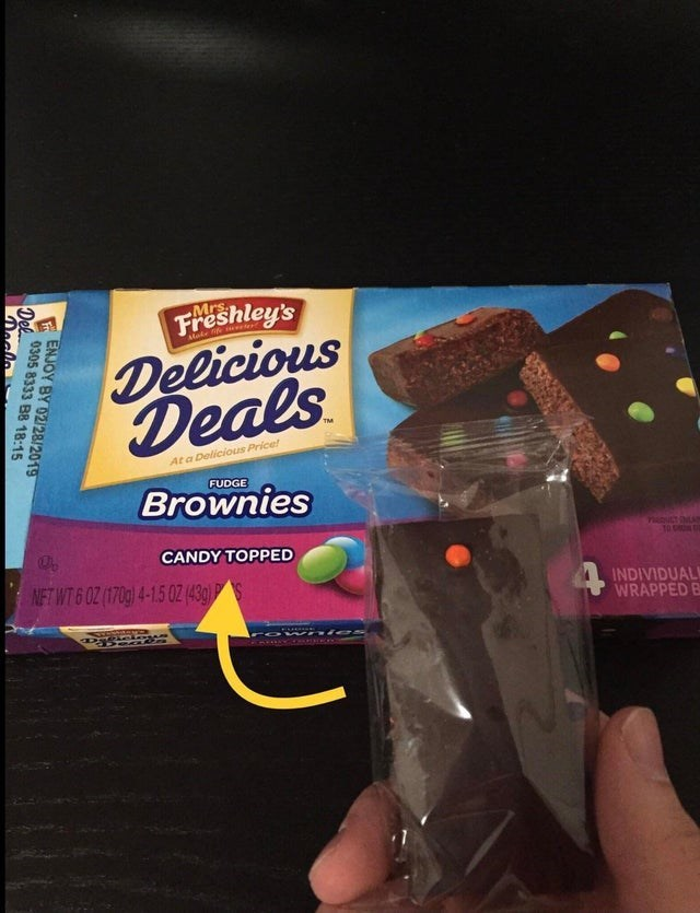 Food - FAShley's Delicious Deals Mrs At a Delicious Price! FUDGE Brownies CANDY TOPPED NFT WT 6 0Z (170g) 4-15 0Z (43g) INDIVIDUAL WRAPPED B WA ies ENJOY BY 02/28/2019 0305 8333 B8 18:15 Del. Declo