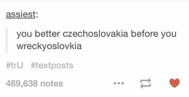 Rectangle - assiest: you better czechoslovakia before you wreckyoslovkia #trU #textposts 469,638 notes