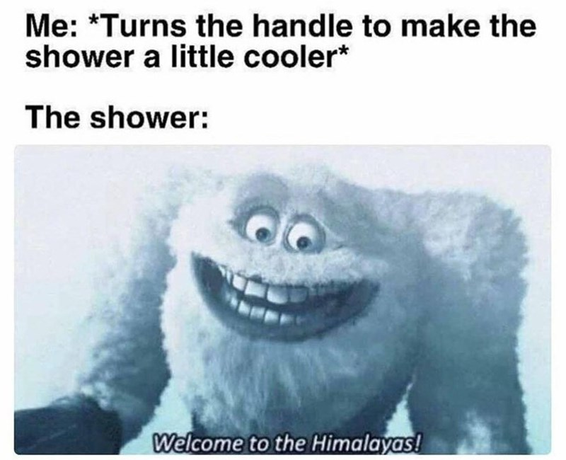 Smile - Me: *Turns the handle to make the shower a little cooler* The shower: Welcome to the Himalayas!