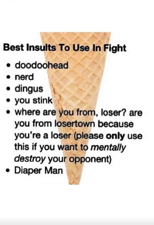 Gesture - Best Insults To Use In Fight • doodoohead • nerd • dingus • you stink • where are you from, loser? are you from losertown because you're a loser (please only use this if you want to mentally destroy your opponent) • Diaper Man