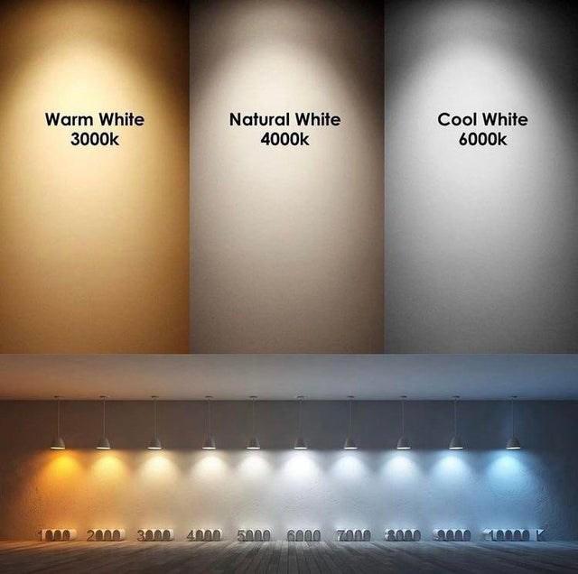 White - Natural White 4000k Cool White 6000k Warm White 3000k me 2000 3000 4000 5000 6000 Z000 3000 0 1000 K