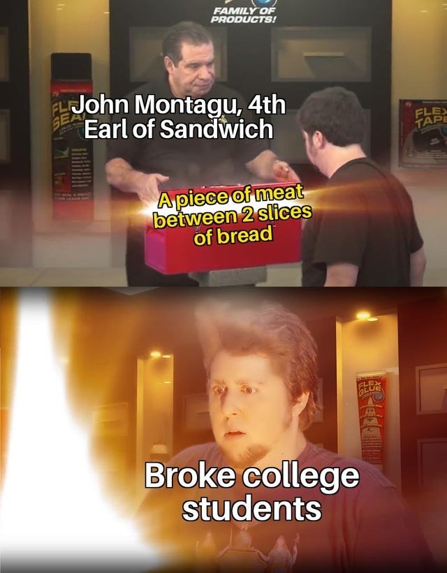 Font - FAMILY OF PRODUCTS! SEA ELJohn Montagu, 4th Earl of Sandwich FLEX TAPE A piece of meat between 2 slices of bread GLU Broke college students