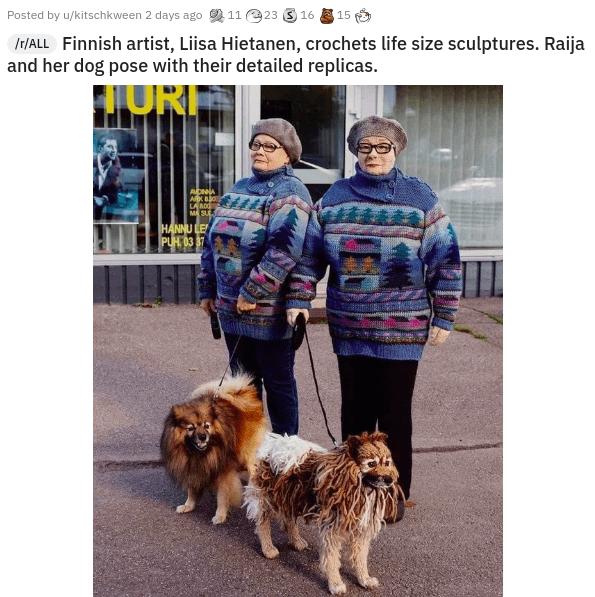 Carnivore - Posted by u/kitschkween 2 days ago 2 11 23 3 16 E 15 IT/ALL Finnish artist, Liisa Hietanen, crochets life size sculptures. Raija and her dog pose with their detailed replicas. JURI ARK BO LA BO0 MASUL HANNU LE PUH. 03 37