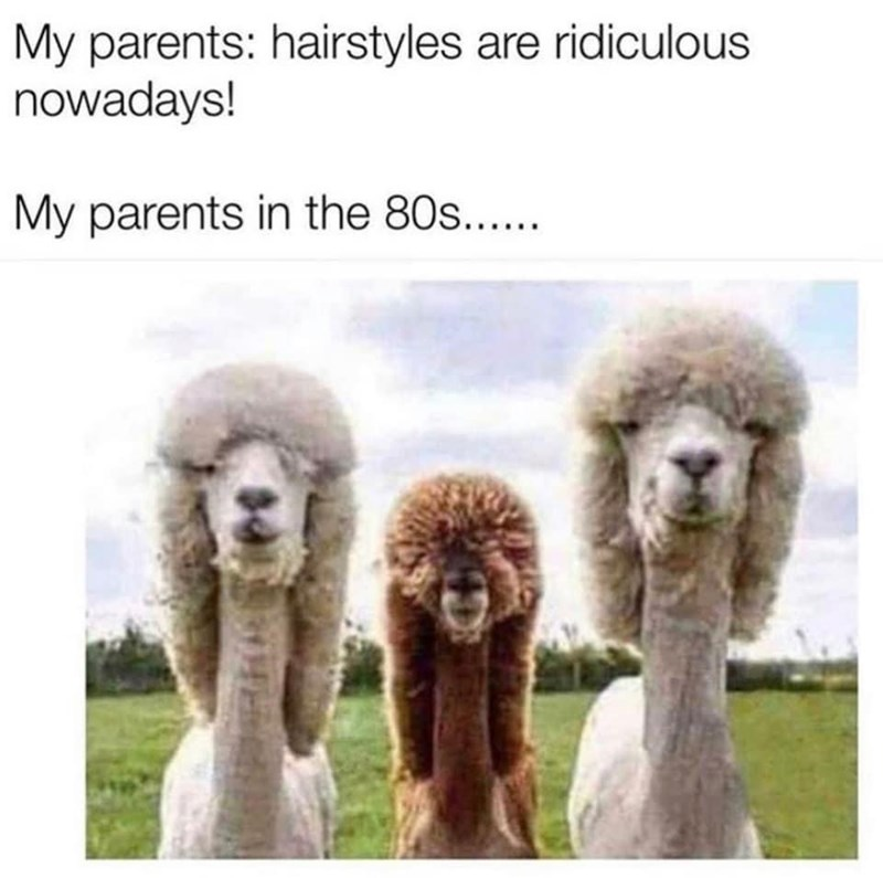 Photograph - My parents: hairstyles are ridiculous nowadays! My parents in the 80s....