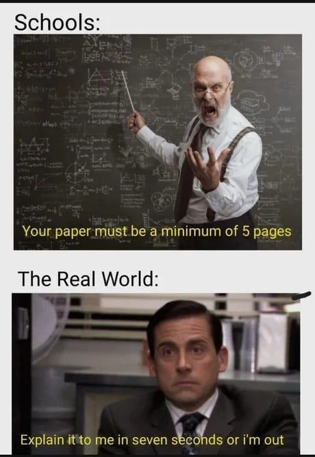 Outerwear - Schools: Your paper must be a minimum of 5 pages The Real World: Explain it to me in seven seconds or i'm out
