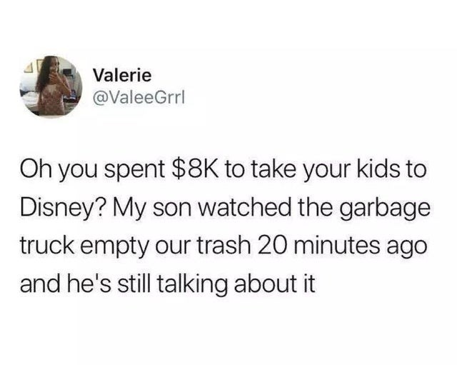 Jaw - Valerie @ValeeGrrl Oh you spent $8K to take your kids to Disney? My son watched the garbage truck empty our trash 20 minutes ago and he's still talking about it