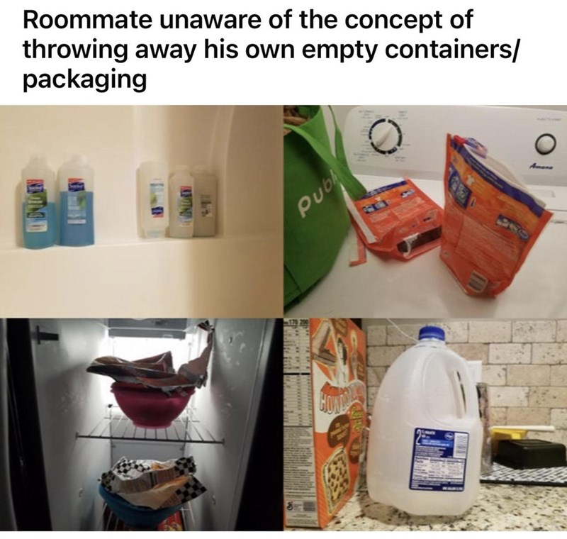 Product - Roommate unaware of the concept of throwing away his own empty containers/ packaging Amone Pub MIN