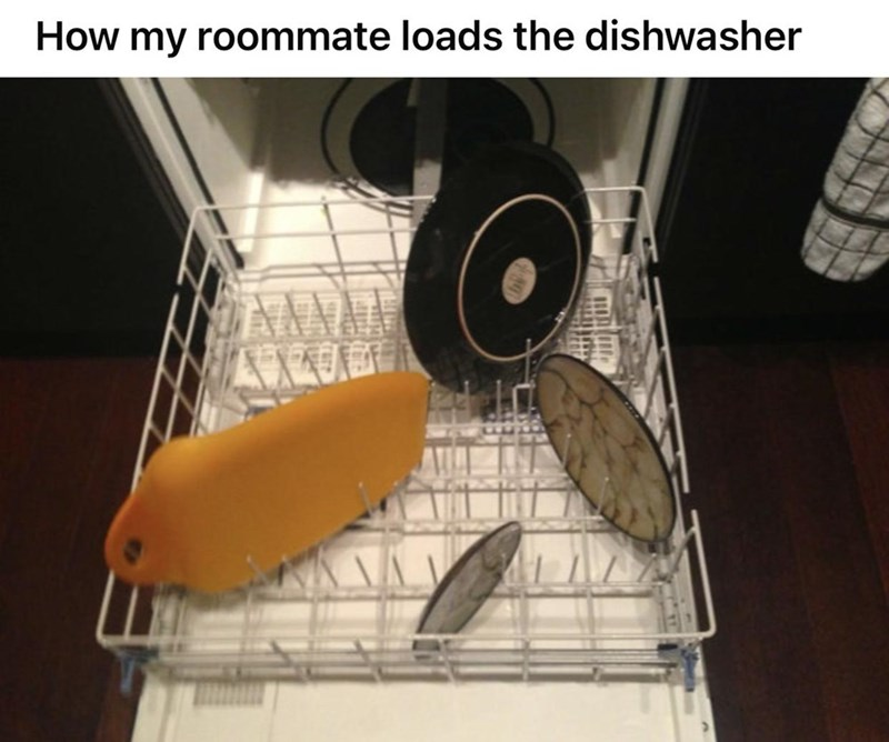 Food - How my roommate loads the dishwasher