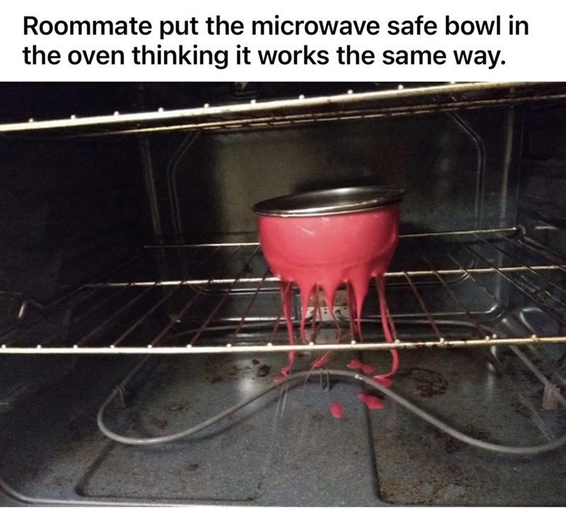 Kitchen appliance - Roommate put the microwave safe bowl in the oven thinking it works the same way.