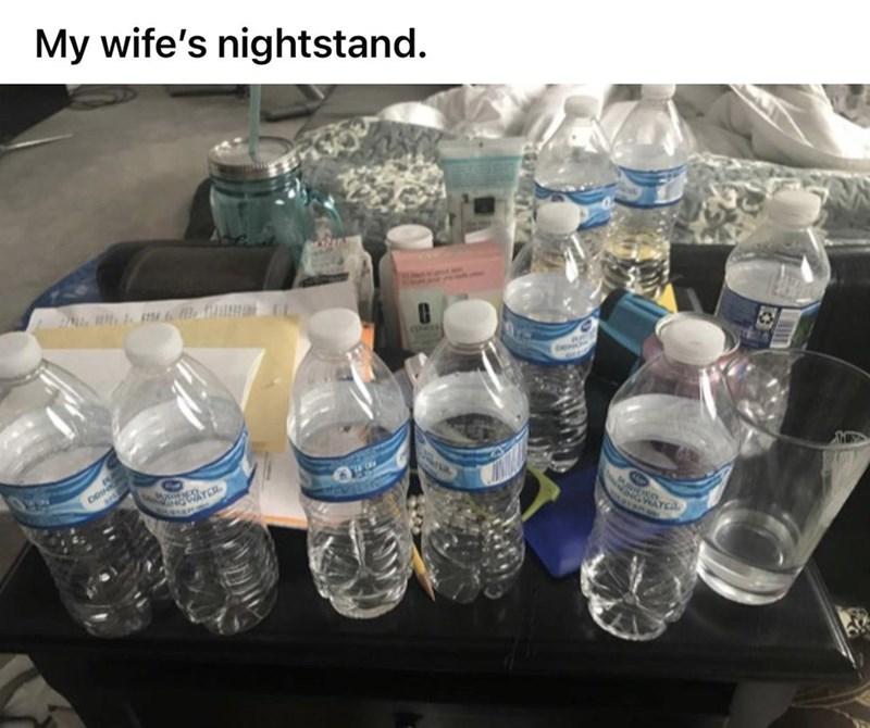 Water - My wife's nightstand. GWATEA