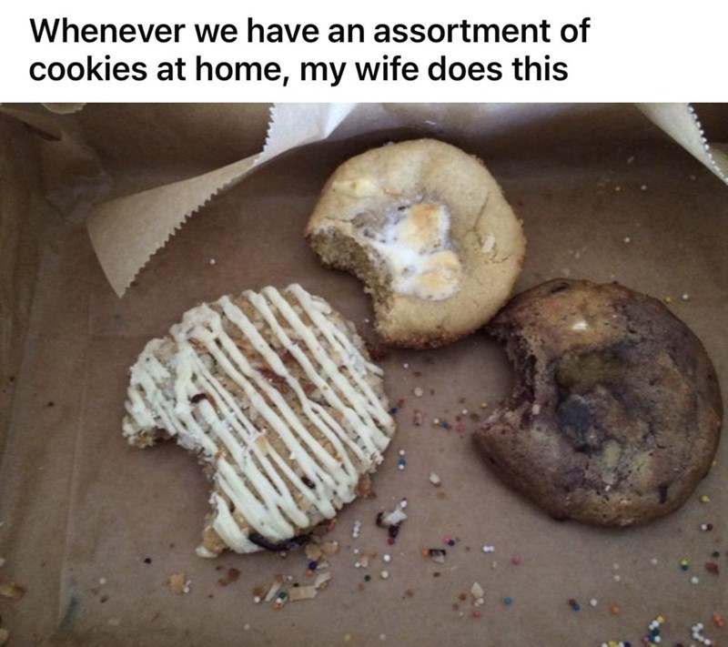 Food - Whenever we have an assortment of cookies at home, my wife does this