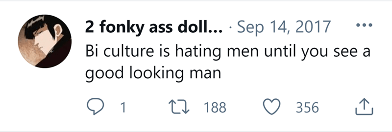 Facial expression - 2 fonky ass doll... · Sep 14, 2017 Bi culture is hating men until you see a good looking man ••• 1 27 188 356 ↑,