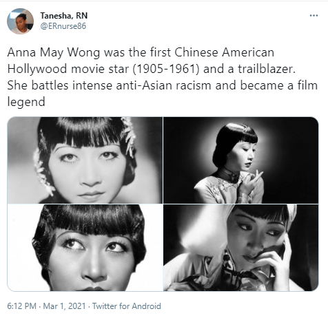 Hair - Tanesha, RN @ERnurse86 Anna May Wong was the first Chinese American Hollywood movie star (1905-1961) and a trailblazer. She battles intense anti-Asian racism and became a film legend 6:12 PM - Mar 1, 2021 · Twitter for Android