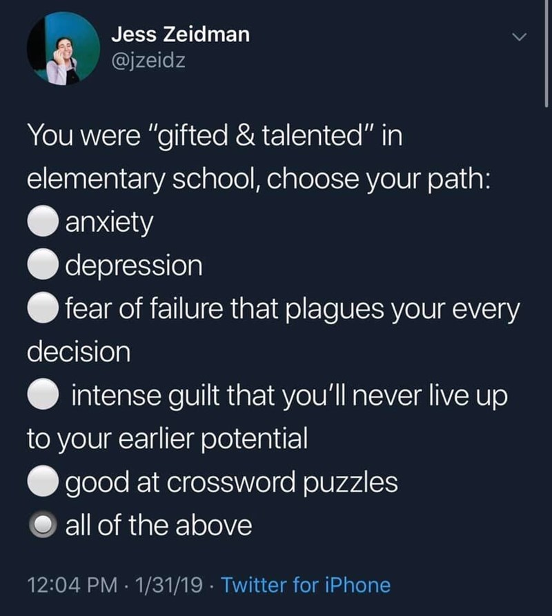 """Terrestrial plant - Jess Zeidman @jzeidz You were """"gifted & talented"""" in elementary school, choose your path: anxiety depression fear of failure that plagues your every decision intense guilt that you'll never live up to your earlier potential good at crossword puzzles all of the above 12:04 PM · 1/31/19 · Twitter for iPhone"""