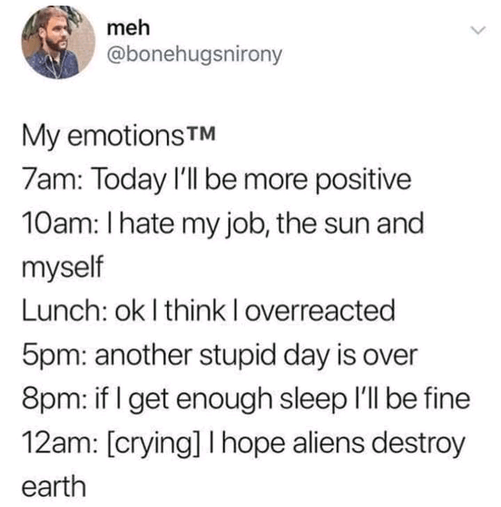 Font - meh @bonehugsnirony My emotionsTM 7am: Today l'll be more positive 10am: I hate my job, the sun and myself Lunch: ok I think I overreacted 5pm: another stupid day is over 8pm: if I get enough sleep l'll be fine 12am: [crying] I hope aliens destroy earth