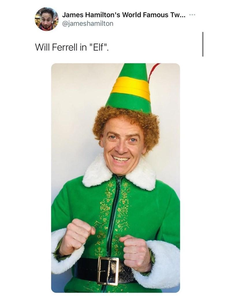 """Smile - James Hamilton's World Famous Tw... @jameshamilton Will Ferrell in """"Elf""""."""
