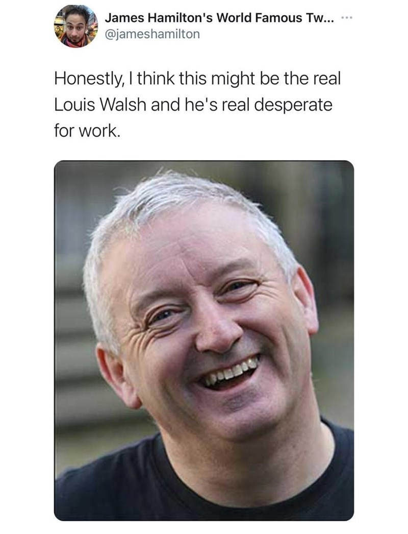 Forehead - James Hamilton's World Famous Tw... @jameshamilton Honestly, I think this might be the real Louis Walsh and he's real desperate for work.