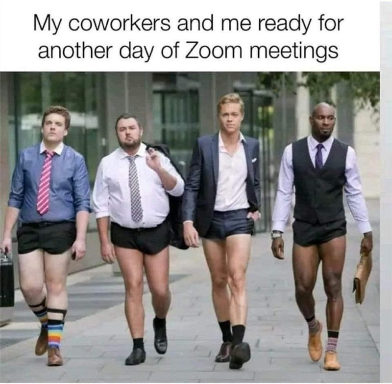 Footwear - My coworkers and me ready for another day of Zoom meetings