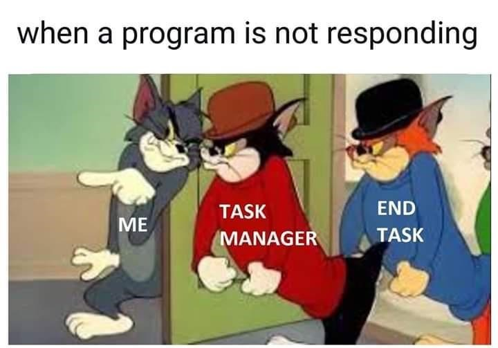 Facial expression - when a program is not responding TASK END ME MANAGER TASK