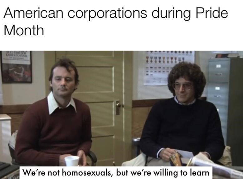Font - American corporations during Pride Month We're not homosexuals, but we're willing to learn