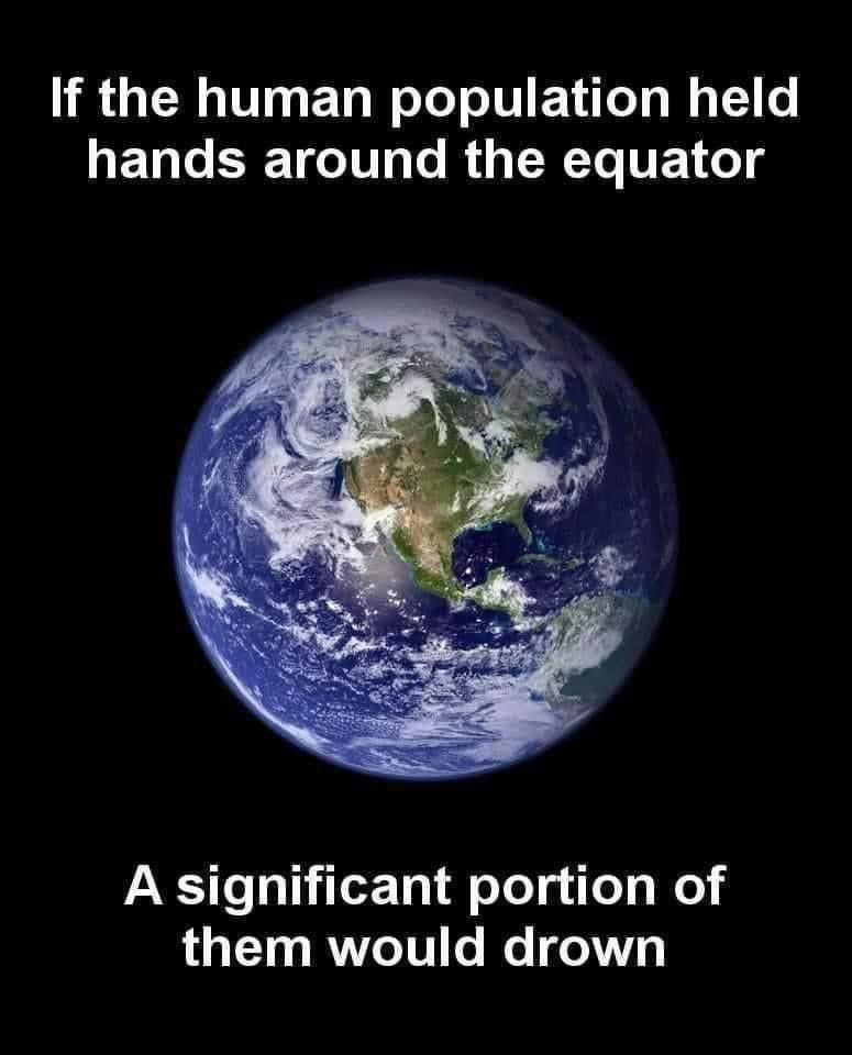 World - If the human population held hands around the equator A significant portion of them would drown