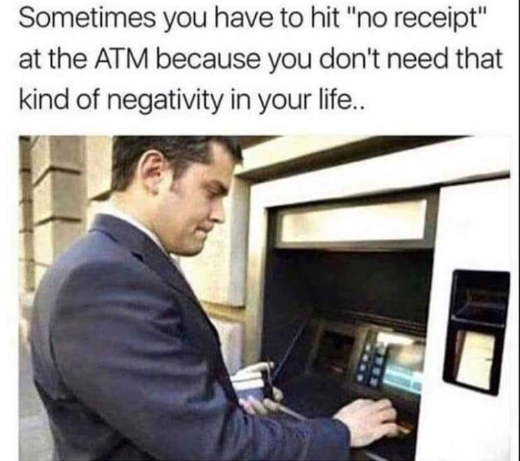 """Coat - Sometimes you have to hit """"no receipt"""" at the ATM because you don't need that kind of negativity in your life.."""
