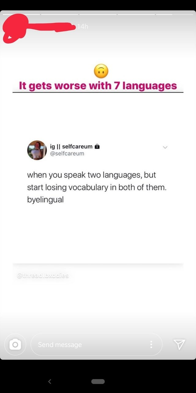 Font - 14h It gets worse with 7 languages ig    selfcareum a @selfcareum when you speak two languages, but start losing vocabulary in both of them. byelingual @uhread.bxddies Send message