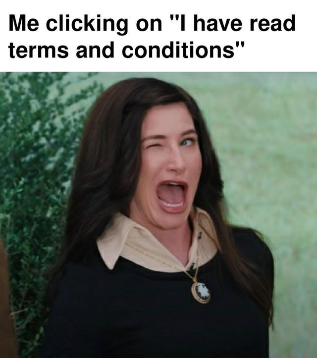 Funny meme about how people never read the terms and conditions, kathryn hahn, wandavision, winking