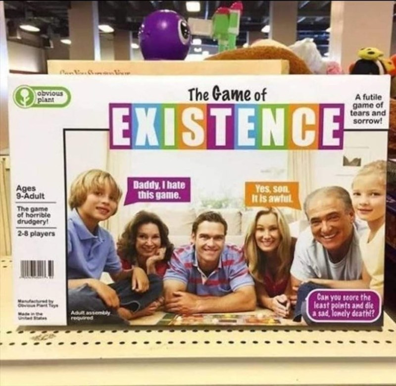 Smile - obvious plant The Game of A futile game of tears and sorrow! EXISTENCE Daddy, I hate this game. Ages 9-Adult Yes, son It is awtul The game of horrible drudgery! 2-8 players Can you score the least points and die a sad, lonely death!? Manfacured by Adult assembly required