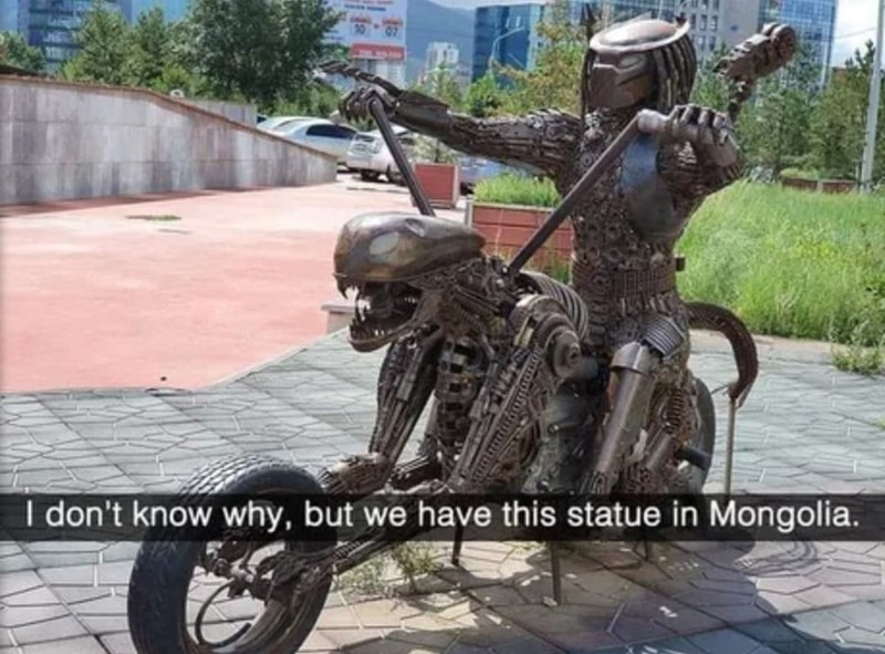 Wheel - I don't know why, but we have this statue in Mongolia.
