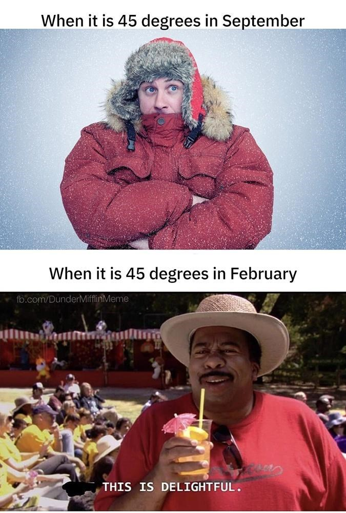Outerwear - When it is 45 degrees in September When it is 45 degrees in February fb.com/DunderMifflinMeme THIS IS DELIGHTFUL .