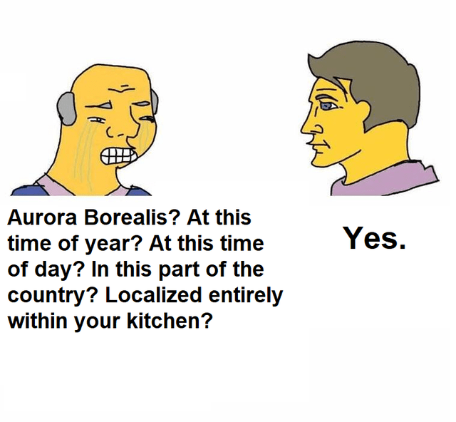 Hair - Aurora Borealis? At this Yes. time of year? At this time of day? In this part of the country? Localized entirely within your kitchen?