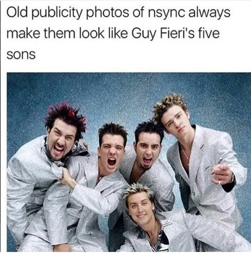 Clothing - Old publicity photos of nsync always make them look like Guy Fieri's five sons