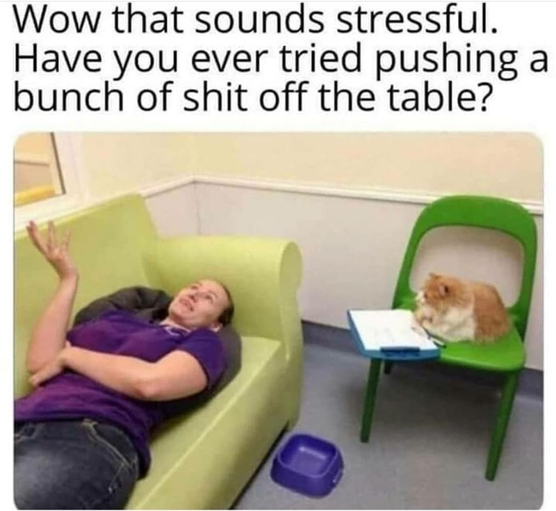 Couch - Wow that sounds stressful. Have you ever tried pushing a bunch of shit off the table?