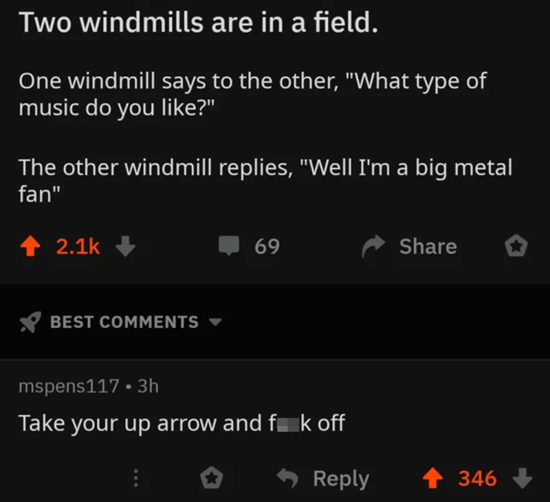"""Font - Two windmills are in a field. One windmill says to the other, """"What type of music do you like?"""" The other windmill replies, """"Well I'm a big metal fan"""" ↑ 2.1k + 69 Share BEST COMMENTS mspens117 • 3h Take your up arrow and f k off * Reply 1 346"""