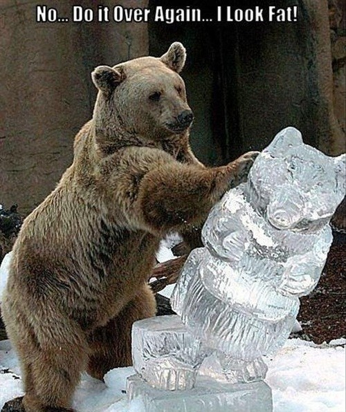 No... Do It Over Again... I Look Fat!   funny pic of a bear pushing over a bear shaped ice sculpture