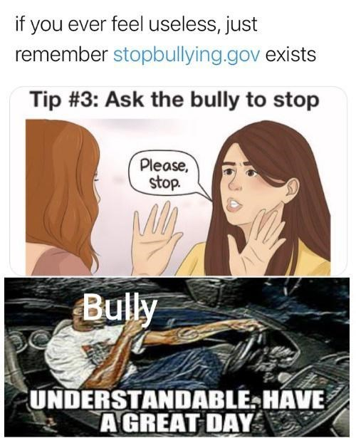 Funny meme about stupid ways to stop bullying, tell the bully to stop
