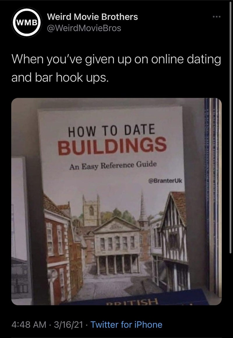 World - Weird Movie Brothers WMB @WeirdMovieBros When you've given up on online dating and bar hook ups. HOW TO DATE BUILDINGS An Easy Reference Guide @BranterUk PRITISH 4:48 AM · 3/16/21 · Twitter for iPhone