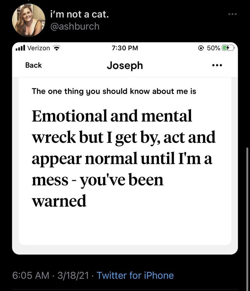 Font - i'm not a cat. @ashburch .l Verizon 7:30 PM @ 50% 4 Back Joseph •.. The one thing you should know about me is Emotional and mental wreck but I get by, act and appear normal until I'm a mess - you've been warned 6:05 AM · 3/18/21 · Twitter for iPhone
