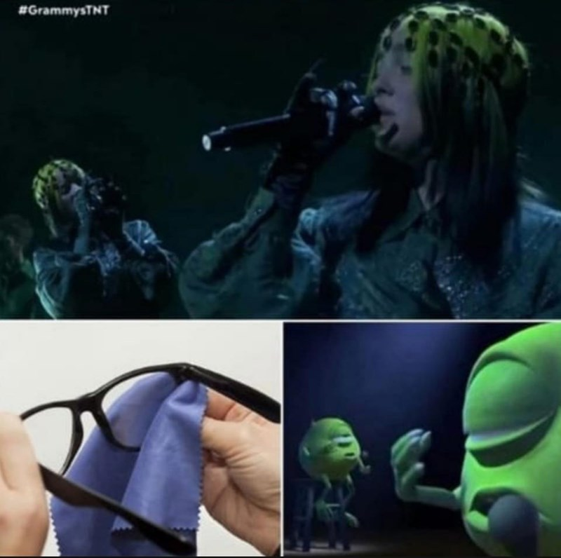 Funny meme comparing Billie Eilish to Mike Wazowski of Monsters Inc