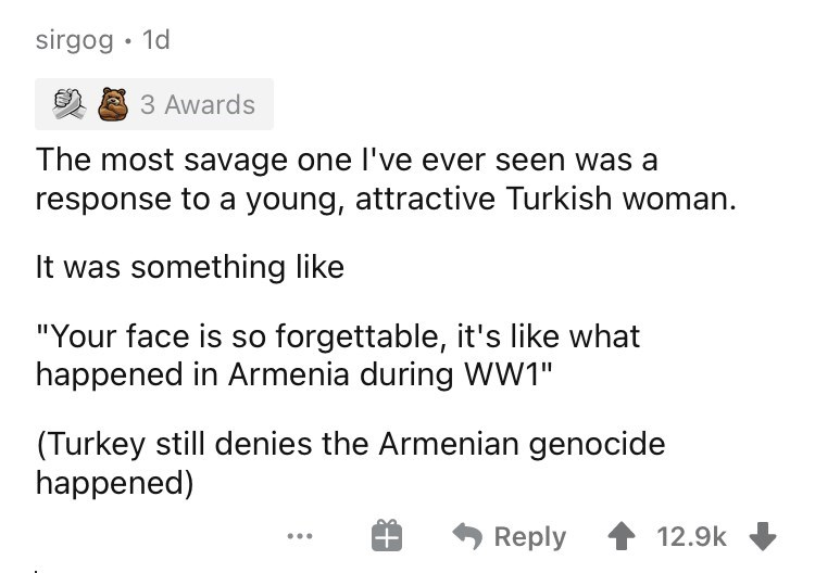 """Font - sirgog • 1d 3 Awards The most savage one l've ever seen was a response to a young, attractive Turkish woman. It was something like """"Your face is so forgettable, it's like what happened in Armenia during WW1"""" (Turkey still denies the Armenian genocide happened) * Reply 12.9k ..."""