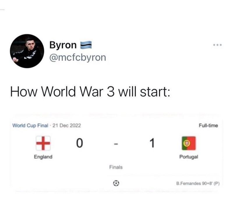 Font - Byron = @mcfcbyron ... How World War 3 will start: World Cup Final -21 Dec 2022 Full-time 1 England Portugal Finals B.Fernandes 90+8 (P)
