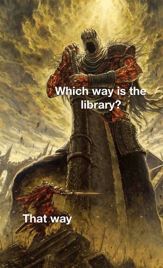 Poster - Which way is the library? That way