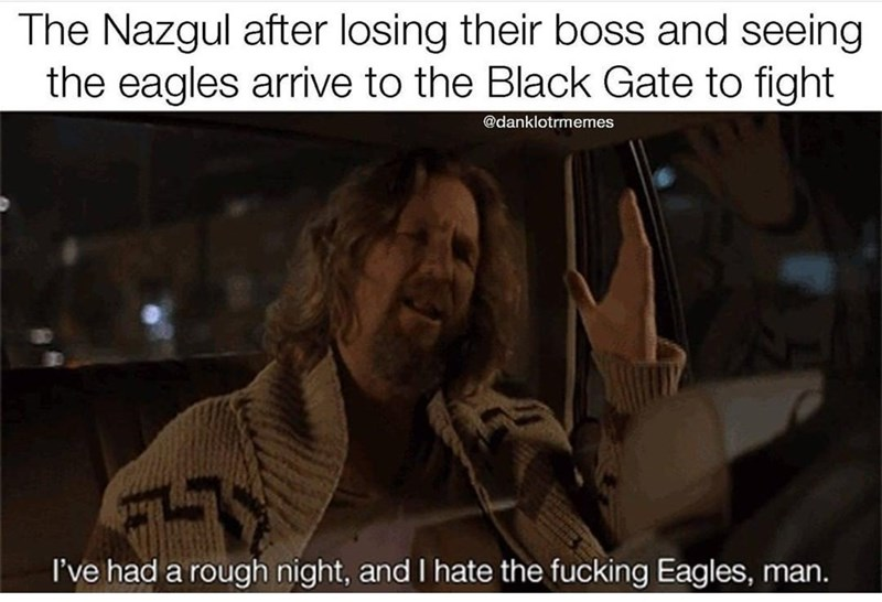 Font - The Nazgul after losing their boss and seeing the eagles arrive to the Black Gate to fight @danklotrmemes I've had a rough night, and I hate the fucking Eagles, man.