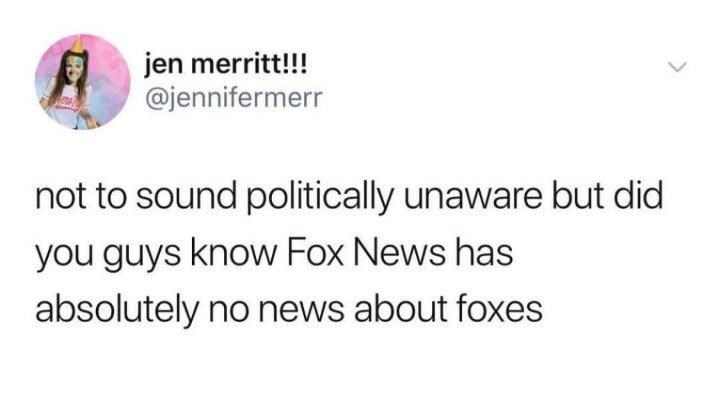 Gesture - jen merritt!!! @jennifermerr not to sound politically unaware but did you guys know Fox News has absolutely no news about foxes