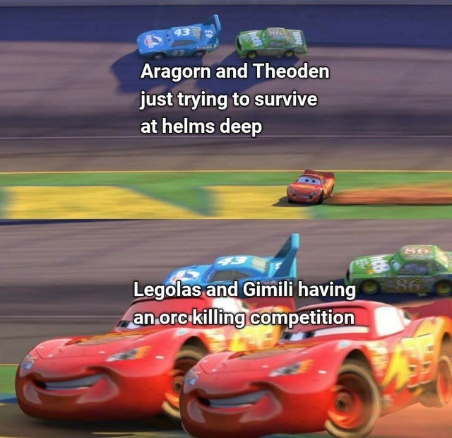 Tire - 43 Aragorn and Theoden just trying to survive at helms deep 86 86 Legolas and Gimili having an.orcikilling competition