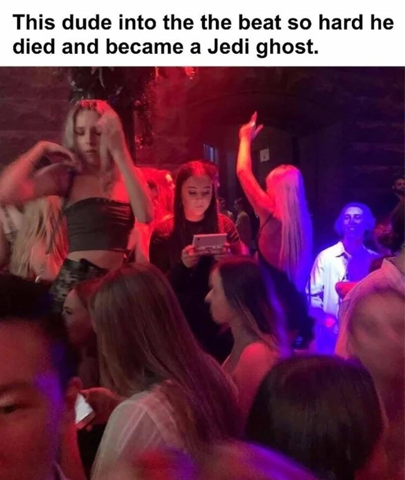 Purple - This dude into the the beat so hard he died and became a Jedi ghost.